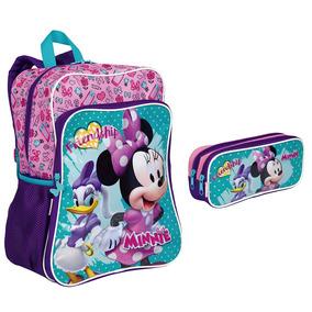 Kit Mochila Minnie Mouse 19m Plus + Estojo Duplo Original