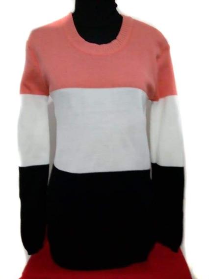 Sweater Dama Tejido Combinado Cuello Redondo