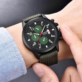 Relógio De Pulso Militar Masculino Pulseira Verde