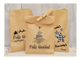 50 Bolsas Papel Kraft Navidad, Bodas, Regalos 13x20