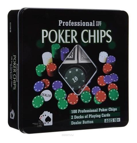 Juego De Poker Profesional 100 Fichas + Cartas +caja Casino