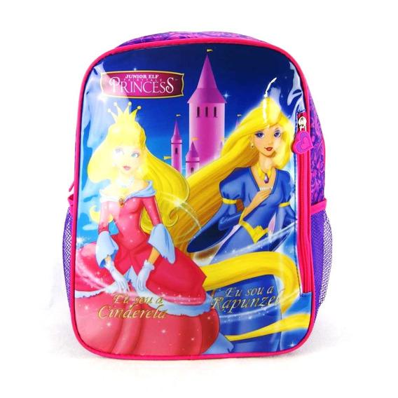 Mochila Cinderela E Rapunzel Princesa Junior Elf Is3100pr