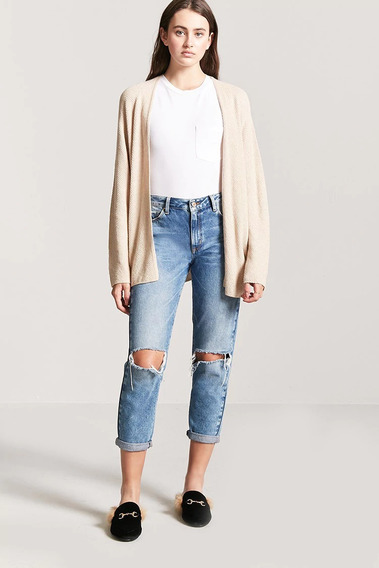 Forever 21 Cardigan Sweater Abierto Crema Beige Tejido Med