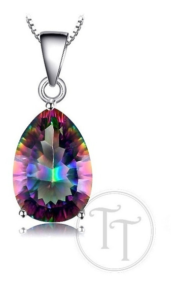 Collar Topacio Arcoiris 5.06 Ct En Plata Esterlina 925