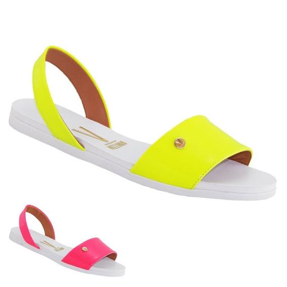Sandalia Vizzano Slide Rasteira Verniz Neon Fluor 6352113