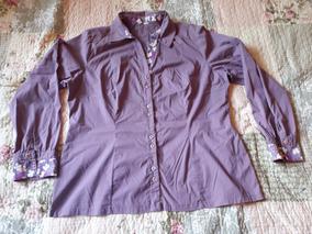 Camisa Feminina Manga Longa Roxa Florida Lilás Xgg Cod 3012