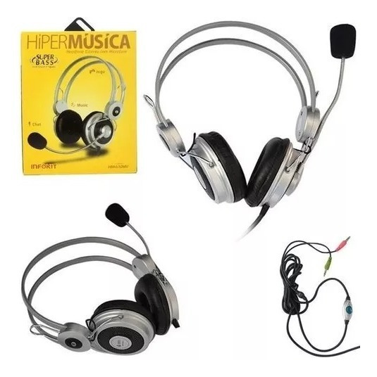 Fone De Ouvido Com Microfone Hiper Musica Infokit Hm-610mv