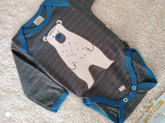 Body Baby Azul Com Marrom Listrado, Urso Bordado Best Club