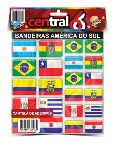 Cartela Bandeiras América Do Sul Motorclub Viagem
