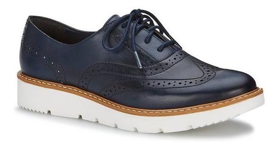 Zapato Andrea Oxford Azul Marino 2585246 Agujetas Plataforma