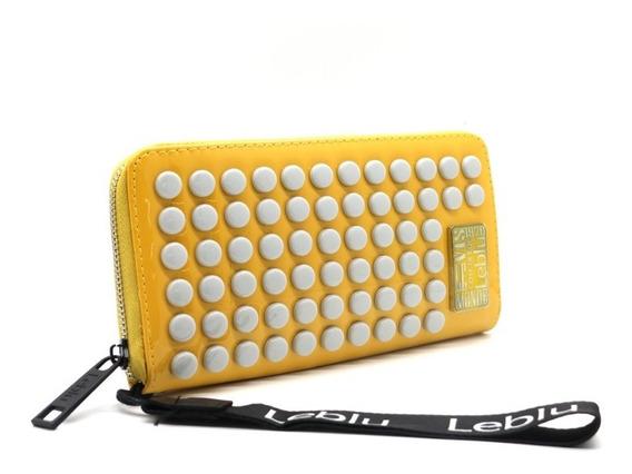 Billetera Fichero Mujer Cuero Ecologico Yellow Leblu B974