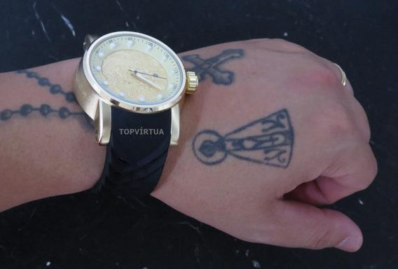 Relógio Dourado Grande Pesado Masculino Na Caixa P Entrega