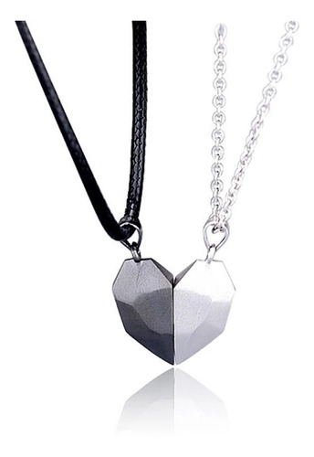 Collar Pareja Corazón Magnético Regalo Novios San Valentín