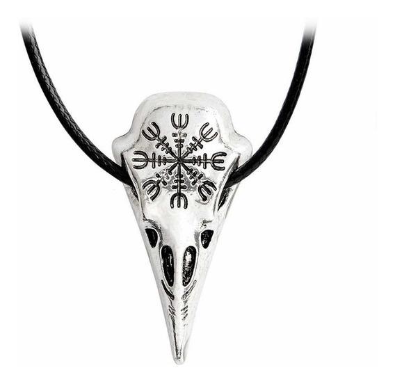 Colar Vikings Crânio Corvo Memória De Odin 100% Inox Aço