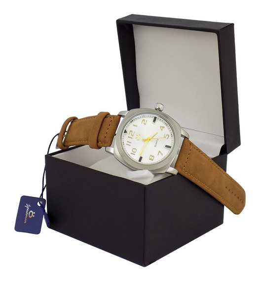 Relógio Masculino Branco Marrom Cinza Original + Caixa Promo