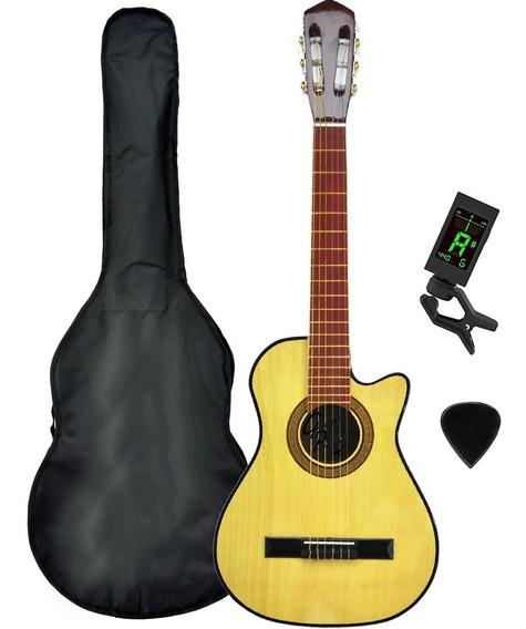 Guitarra Criolla Corte Mediana Electroacustica Funda Afinadr