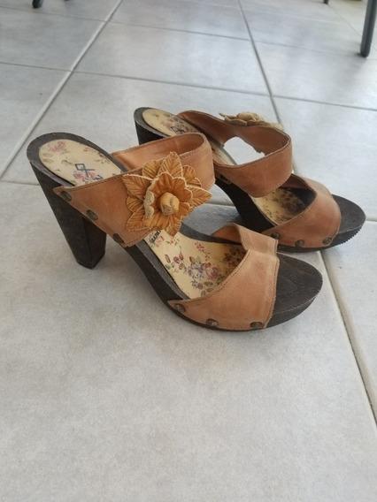 Zapatos Suecos De Cuero - Talle 38 - Excelentes