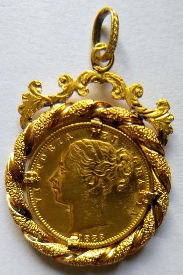 Moeda Rainha Vitoria 1886 Ouro, Sovereign 1886s Shield