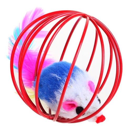 Bola Vermelha Pet Cat Com Ratinho De Brinquedo Para Gatos