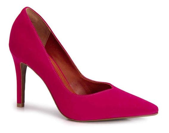 Scarpin Bebecê Nobuck Preto E Pink 9422-069