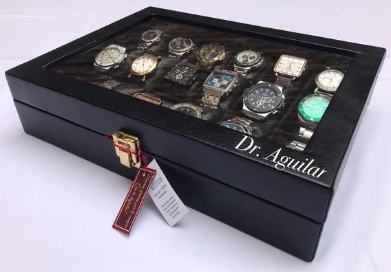 Estuche 18 Relojes Madera Forrada Envio Personalizado Gratis
