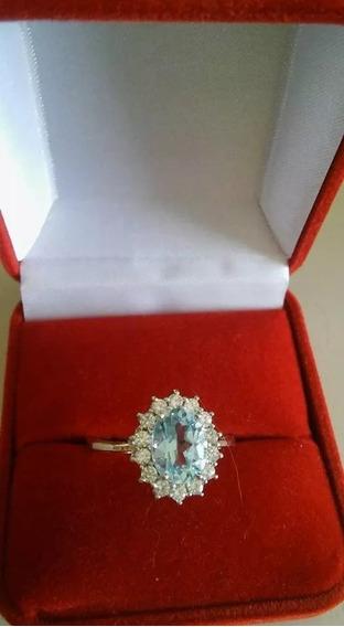 Anel Prata 925 Maciça Topázio Azul Pedra Natural Aro 22 23