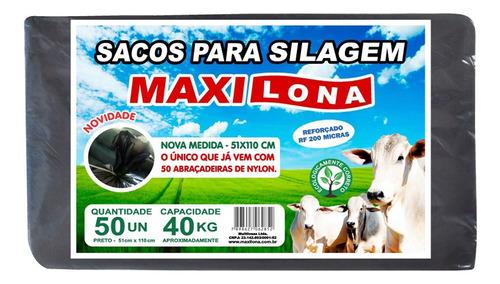 Saco Para Silagem Maxilona Preto 51x110 Capacidade 40kg 50sa