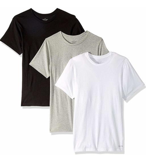 Calvin Klein 3 Playera Fit Algodon Camiseta Original Hombre