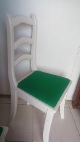 Cadeira De Madeira Estofada Branca