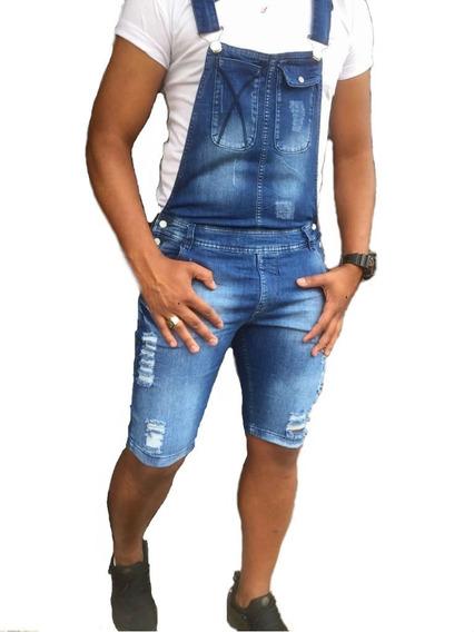 Macacão Jardineira Masculino Skinny Jeans Original Azul
