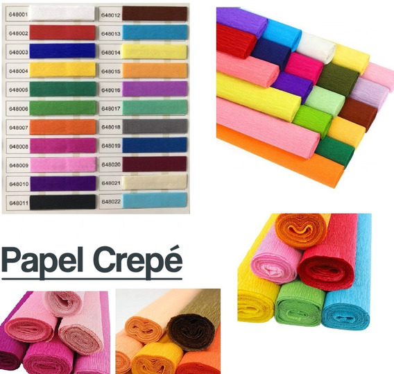 Papel Crepe De Colores Calidad Premium 50x200 Pack X10 Uni