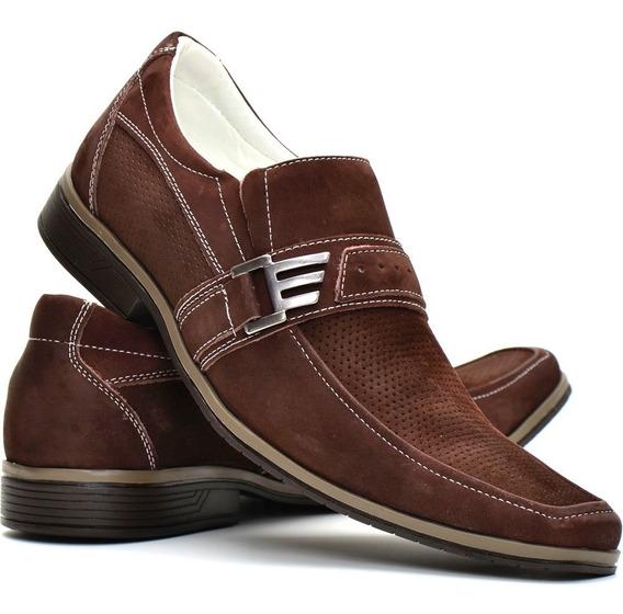 Sapato Social Masculino Em Couro Solado De Borracha
