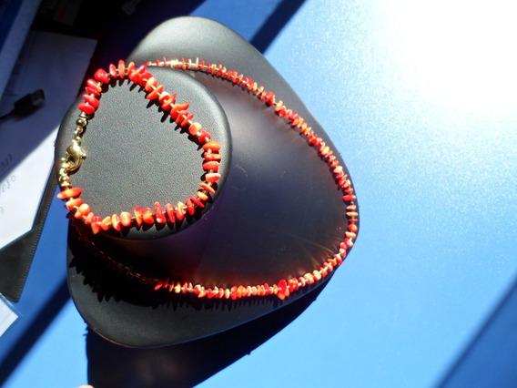 Conjunto Coral Chines Verme Colar De 48cm Pulseira De 21cm