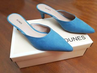 Mule Dunes Salto Médio Bico Fino Cor Azul Denin Tamanho 35