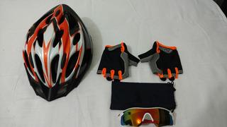 Kit Bike Capacete Laranja + Óculos Espelhado + Luvas Laranj
