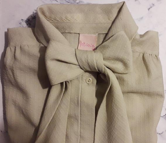Camisa Con Lazo Y Moño - Verde Talle M
