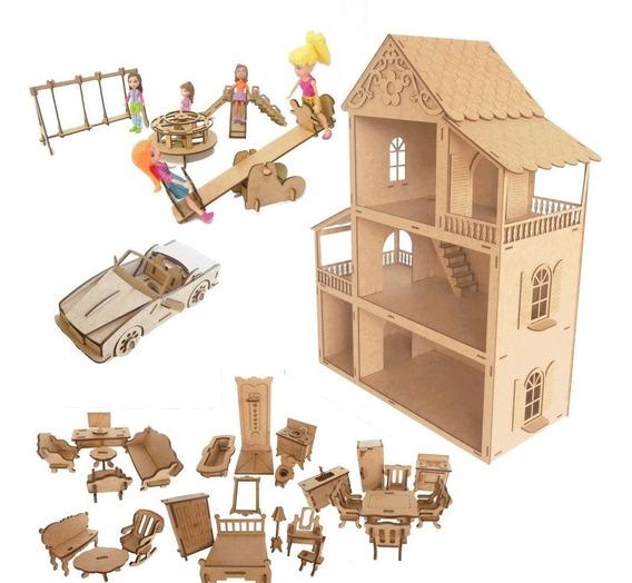 Casa Casinha Polly Cru + 27 Peças+1 Kit Parque4 Pçs+carro