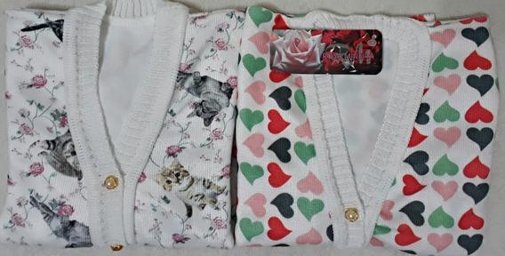 Kit 2 Cardigans Infantil Tricot Estampas Variadas