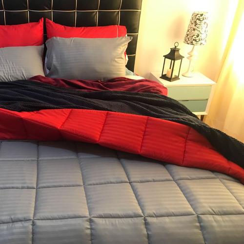 Plumón Sencillo Sateen Stripe - Doble Faz Gris - Rojo