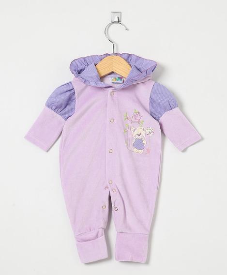 Macacão Bebê Menina Plush Lilás Com Capuz