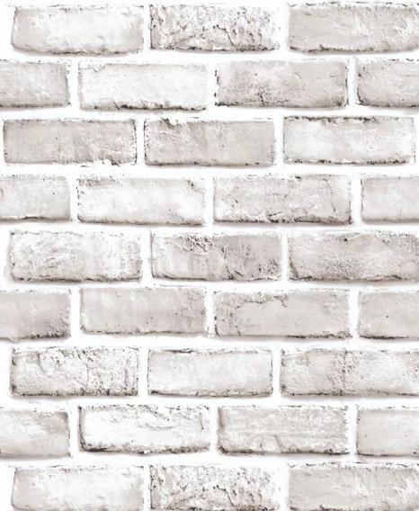 Papel Tapiz Ladrillos Blanco Adhesivo 45cm X 10 Mt 3d Mayore