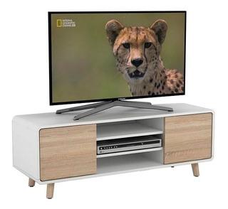 Mesa Stand Tv 120 Estilo Escandinavo Madera Gris Y Blanco Ko