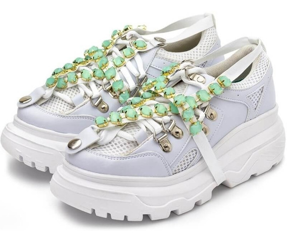 Tênis Sneakers Chuncky Feminino Sola Alta Holográfico Strass