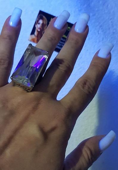 Anel Em Prata Com Pedra Em Cor Cristal Peça Única !