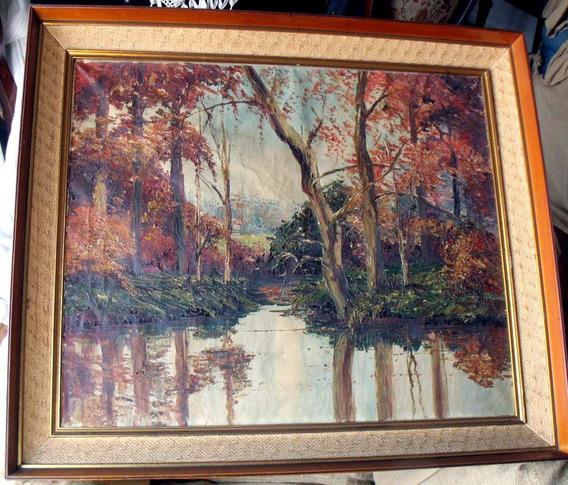 Antiguo Cuadro Oleo En Tela Original Artista Leo Banyai