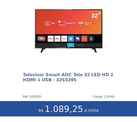 Televisor Smart Aoc Tela 32 Led Hd 2 Hdmi 1 Usb-