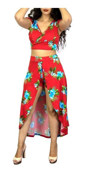 Conjunto Blusa Short Falda Larga Dama Mujer 2 Piezas Estampa