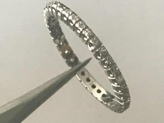 Anel Ouro Branco 18k 2.1 Gr. Aro 18 Cravejados De Diamantes.