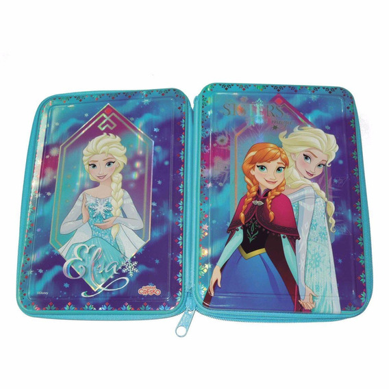 Cartuchera Metal Rigida Elsa Anna Disney Frozen Dos Pisos