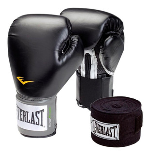 Kit Boxeo Everlast Guantes Prostyle Negro Vs Oz Vendas 120